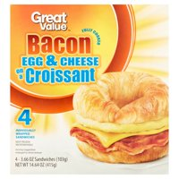 Great Value Fully Cooked Bacon Egg & Cheese on a Croissant Sandwiches, 3.66 oz, 4 Count