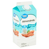 Great Value Original Almondmilk, 1/2 gal