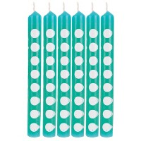 12ct Polka Dot Candles Teal