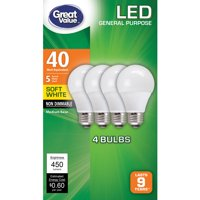 Great Value LED Light Bulb, 6W (40W Equivalent) A19 General Purpose Lamp E26 Medium Base, Non-dimmable, Soft White, 4-Pack
