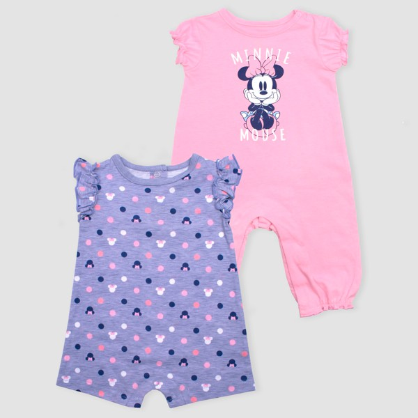Baby Girls' Disney Minnie Mouse 2pk Rompers - Pink/Purple 3-6M