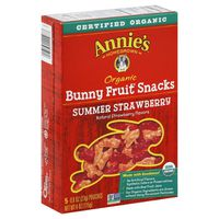 Annie's Homegrown Organic Summer Strawberry Bunny Fruit Snacks, Gluten Free