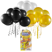 Bunch O Balloons Self-Sealing Latex Party Balloons, White, Black, & Gold, 11in, 24ct