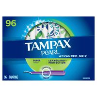 Tampax Pearl Advanced Grip Super Absorbency Tampons, 96 ct