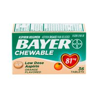 Bayer Asprin Regimen Pain Reliever Low Dose Chewable Tablets Orange