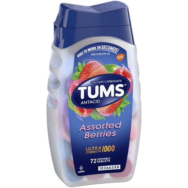 Tums Antacid, Ultra Strength 1000, Assorted Berries, Chewable Tablets