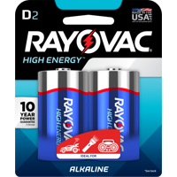 RAYOVAC 8132D ALKALINE D CARD BATTERY 2 PACK