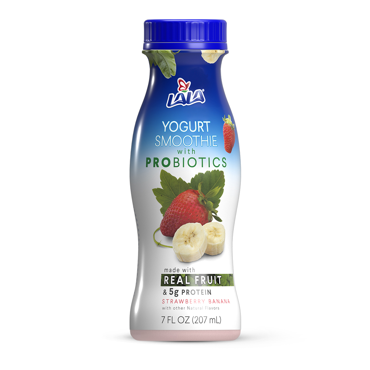 LALA Drinkable Yogurt Smoothie with Probiotics, 5g of Protein, Strawberry Banana, 7-Ounce Bottle
