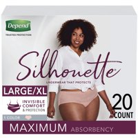 Depend Silhouette Incontinence/Postpartum Underwear for Women, Maximum Absorbency, Large/Extra-Large, Pink, 20 Count