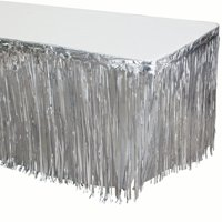 Way to Celebrate Silver Foil Fringe Table Skirt