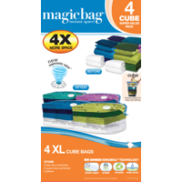 MagicBag® Cube Instant Space Saver Storage - Extra Large - Double Zipper - 4 Pack