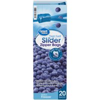 Great Value Freezer Guard Slider Zipper Gallon Storage Bags, 20 Count