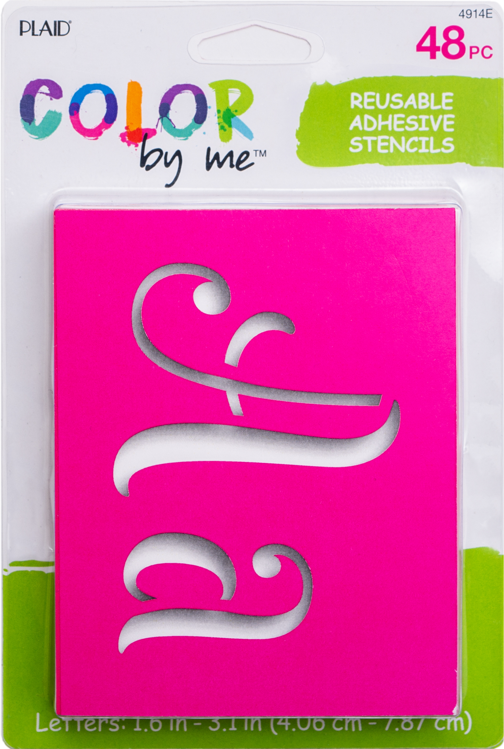 Color By Me 4914E Adhesive Paper Stencil Value Pack, Fantasy Letters, 4 in x 3 in, 48 Piece
