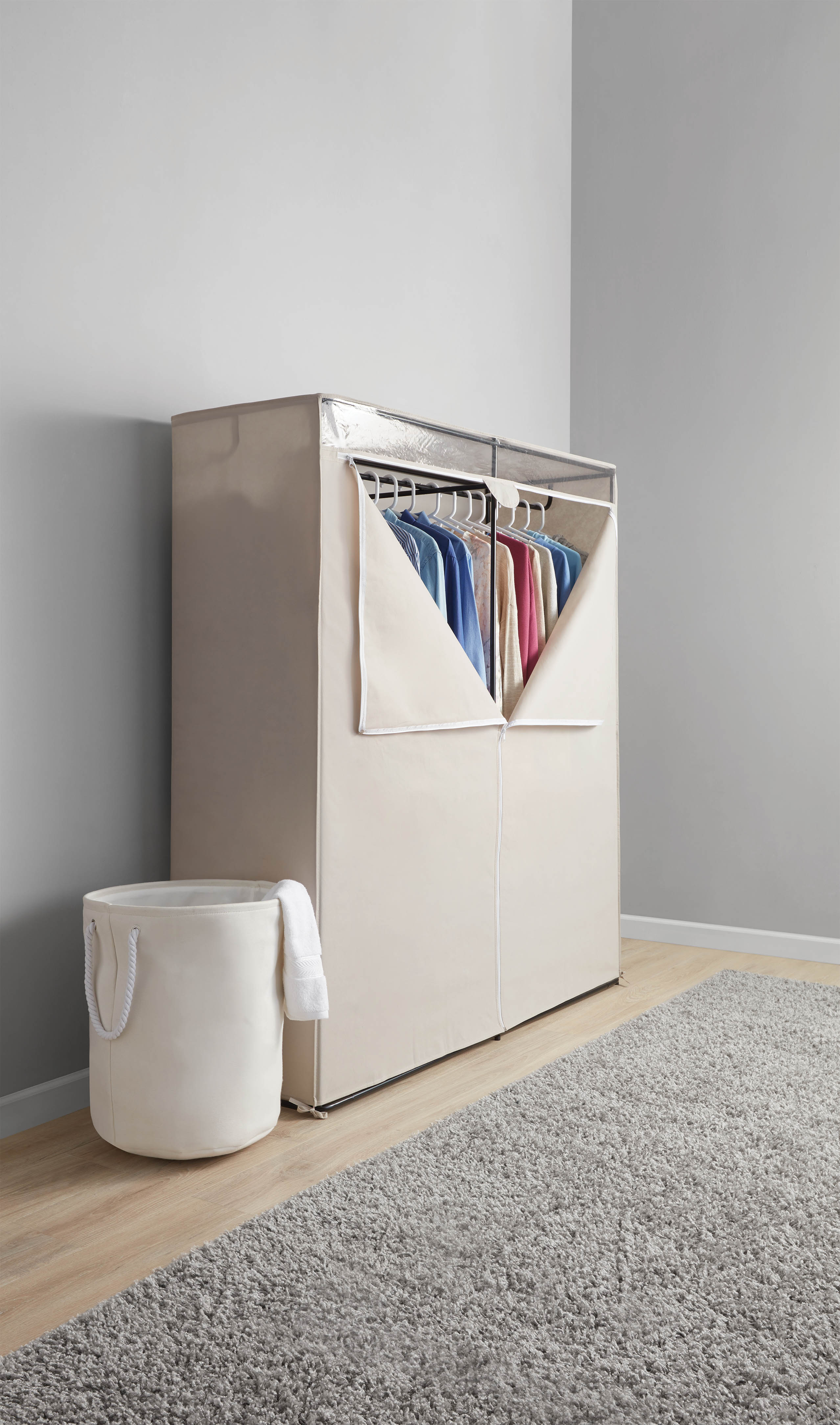 Mainstays Extra Wide Single Tier Zippered Clothes Closet, 60