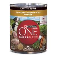 Purina ONE Natural Pate Wet Dog Food, SmartBlend Chicken & Brown Rice Entree - 13 oz. Can