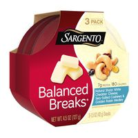 Sargento® Balanced Breaks®, Natural Sharp White Cheddar Cheese, Sea-Salted Cashews and Golden Raisin Medley