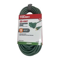 Hyper Tough 25FT SJTW 16/3 Green Triple Outlet Extension Cord for Outdoor Use