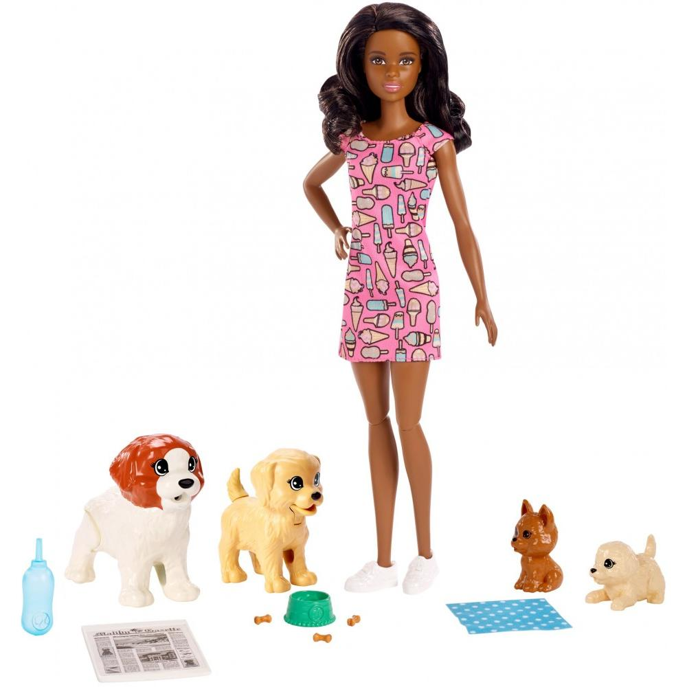 Barbie Doggy Daycare Doll, Brunette Hair with 2 Dogs & 2 Puppies