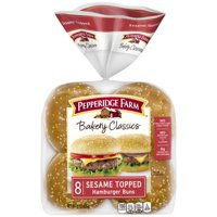 Pepperidge Farm Bakery Classics Sesame Topped Hamburger Buns, 15 oz. Bag, 8-pack