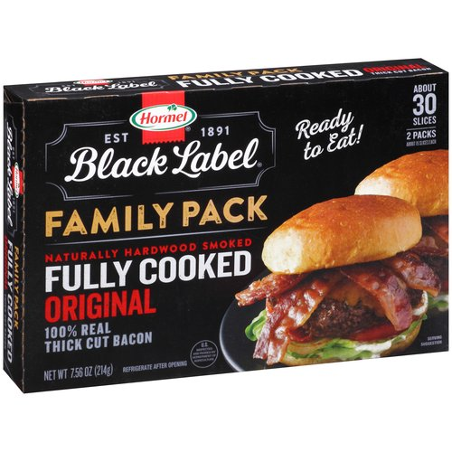 Hormel Black Label Fully Cooked Original Thick Cut Bacon, 7.56 Oz.
