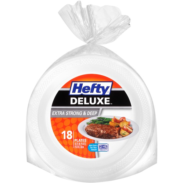 Hefty Deluxe Extra Strong & Deep Disposable Plates - 18ct
