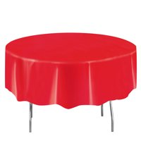 Plastic Round Tablecloths, 84 in, Ravishing Red, 2ct