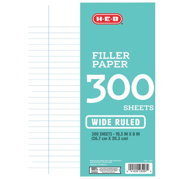 H-E-B Wide-Ruled Filler Paper