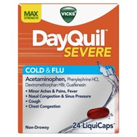 Vicks DayQuil SEVERE Cough, Cold & Flu Relief, 24 LiquiCaps - Relieves Daytime Sore Throat, Fever, and Congestion