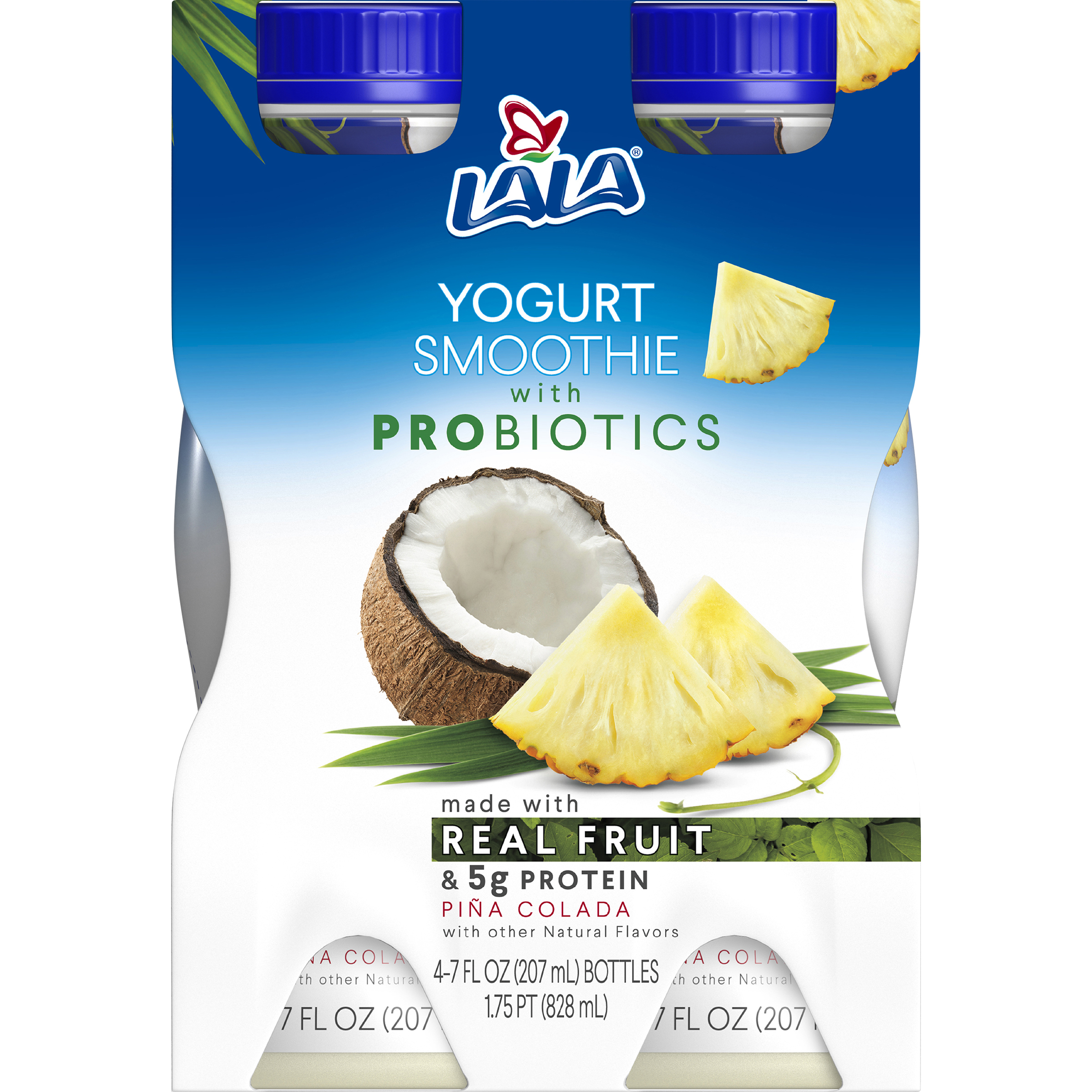 LALA Drinkable Yogurt Smoothie with Probiotics, 5g of Protein, Pina Colada, 7-Ounce Bottles (Pack of 4)