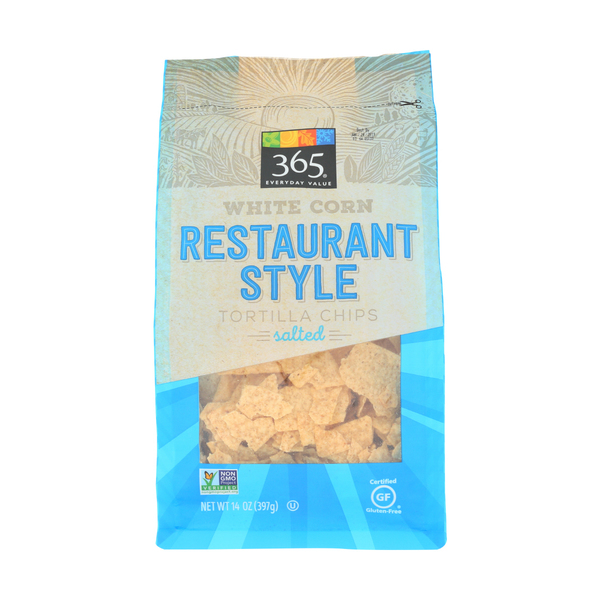 365 everyday value® White Corn Restaurant Style Tortilla Chips Salted, 14 oz