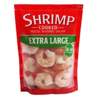 Frozen Cooked Extra Large Peeled, Deveined, Tail-On Shrimp, 12 oz