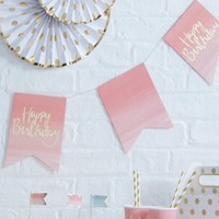 """Happy Birthday"" Bunting Pink"