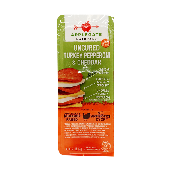 Applegate Turkey Pepperoni And Cheddar Snack Pack, 2.4 oz