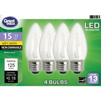 Great Value LED Light Bulb, 1.5W (15W Equivalent) B10 Deco Lamp E26 Medium Base, Non-dimmable, Soft White, 4-Pack