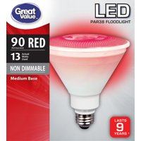Great Value LED Light Bulb, 10W (90W Equivalent) PAR38 Floodlight Lamp E26 Medium Base, Non-dimmable, Red, 1-Pack