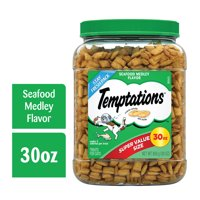 TEMPTATIONS Classic Crunchy and Soft Cat Treats Seafood Medley Flavor, 30 oz. Tub