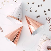 6ct Foiled Party Hats Rose Gold