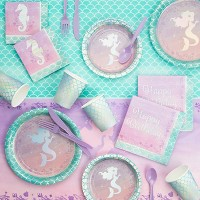 Iridescent Mermaid Party Supplies Collection