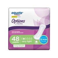 Equate Options Incontinence Liners for Women, Very Light, Long, 48 Count