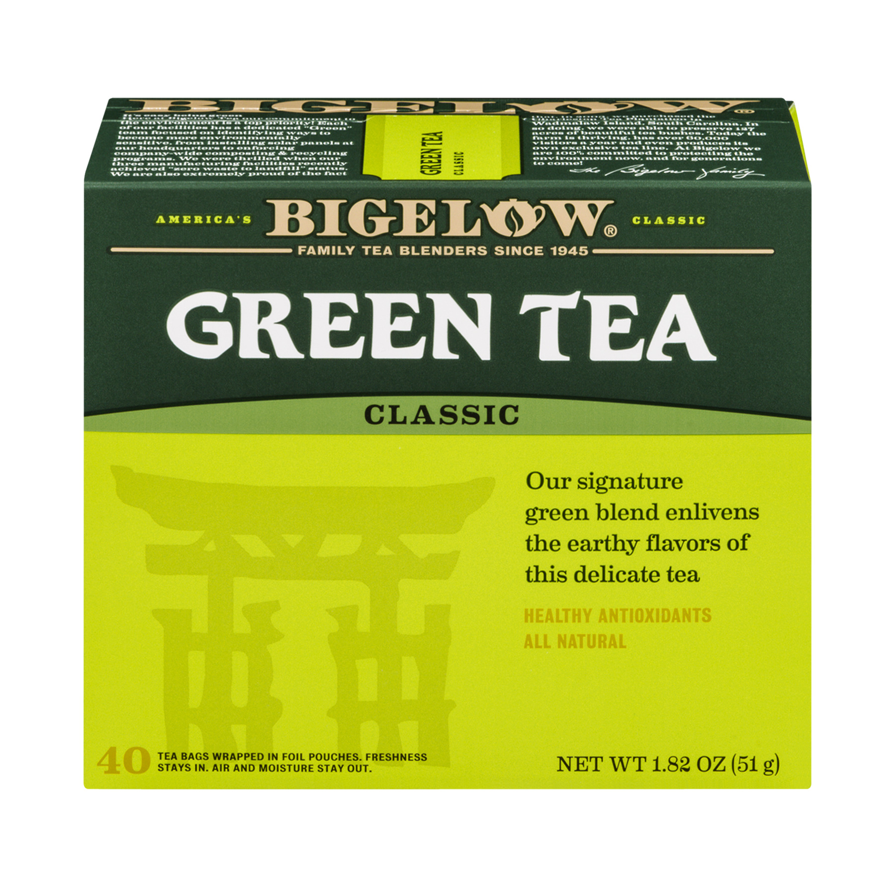 Bigelow Green Tea, Classic, Tea Bags, 40 Ct