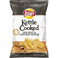 Lay's Kettle Sea Salt & Cracked Pepper Cooked Potato Chips, 8 Oz.