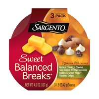 Sargento® Sweet Balanced Breaks®, Natural Cheddar Cheese, Sea-Salted Roasted Almonds, Raisins and Greek Yogurt Flavored Drops, 3-Pack