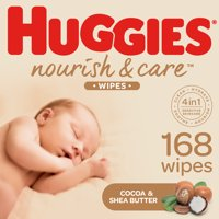 Huggies Nourish & Care Baby Wipes, 3 Flip-Top Packs, 56Ct (168 Wipes)