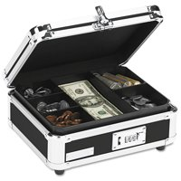 Vaultz Plastic & Steel Cash Box w/Tumbler Lock, Black & Chrome -IDEVZ01002