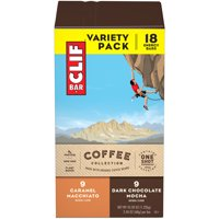 CLIF Bar Coffee Collection Breakfast Bars, Variety Pack, Dark Chocolate Mocha, Caramel Macchiato, 9g Protein Bar, 18 Ct, 2.4 oz