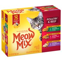 Meow Mix Tender Favorites Poultry & Beef Wet Cat Food Variety Pack, 2.75-Ounce Cups