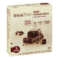thinkThin Brownie Crunch Protein Bars, 2.1 Oz., 5 Count