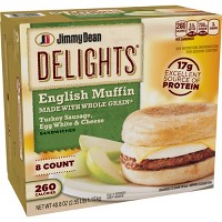 Jimmy Dean Delights Turkey Sausage, Egg Whites, & Cheese English Frozen Muffin - 8ct