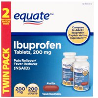 Equate Pain Relief Ibuprofen Coated Caplets, 200 mg, 100 Ct, 2 Pk