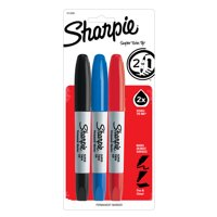 Sharpie Super Twin Tip Permanent Markers, Fine and Chisel, Assorted Colors, 3 Count